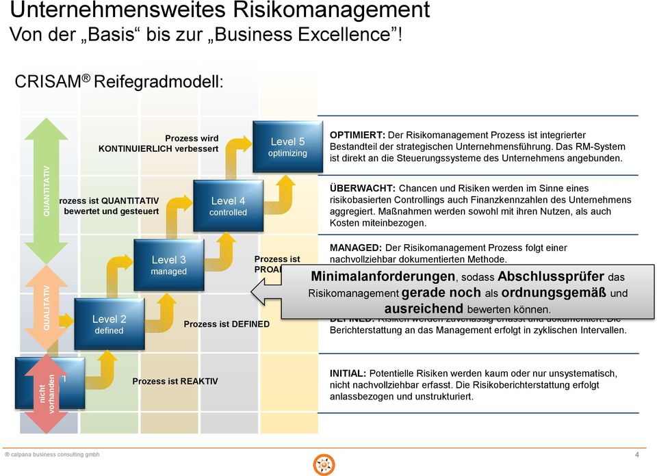 Reifegradmodell für das Enterprise Risk Management