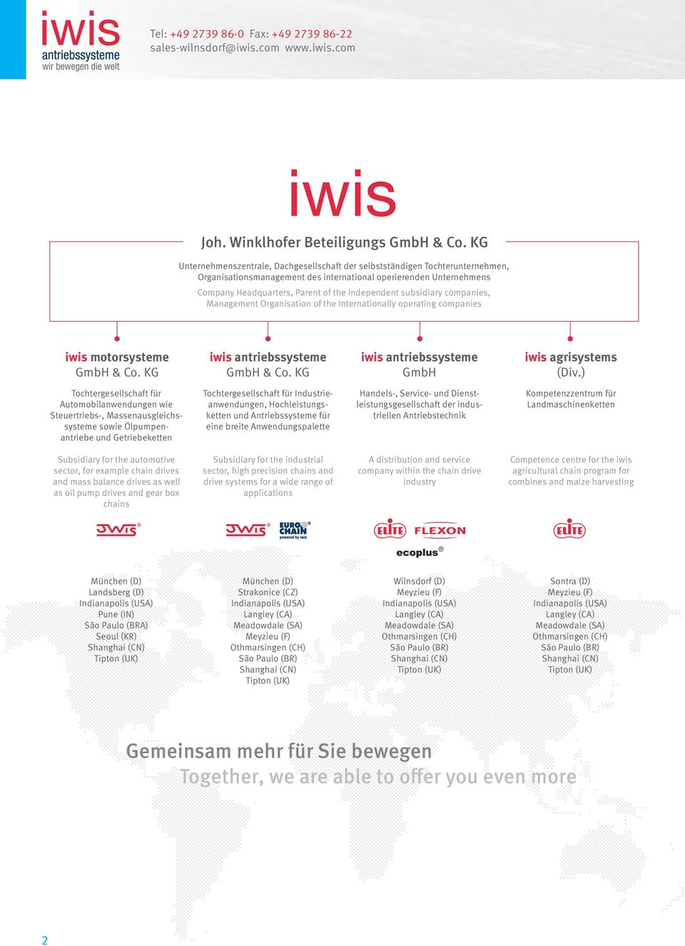 subsidiary companies, Management Organisation of the Internationally operating companies iwis motorsysteme GmbH & Co. KG iwis antriebssysteme GmbH & Co.
