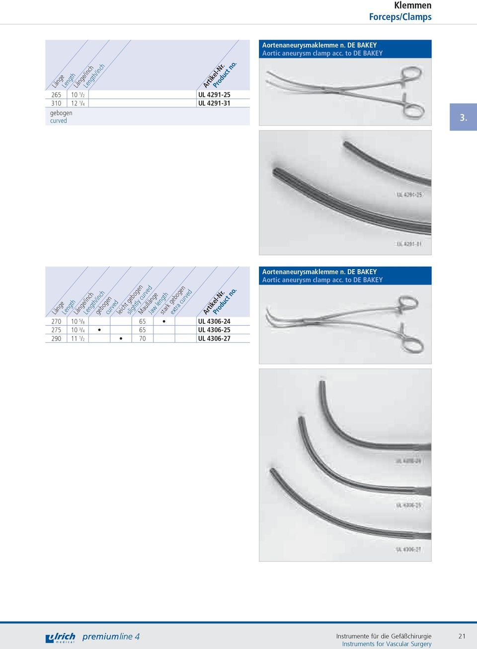 /inch /inch gebogen curved leicht gebogen slightly curved Maullänge Jaw length stark gebogen extra curved 270 10 5