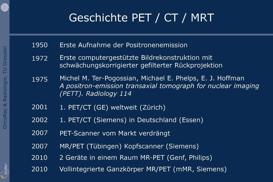 Hoffman A positron-emission transaxial tomograph for nuclear imaging (PETT). Radiology 114 1. PET/CT (GE) weltweit (Zürich) 1.