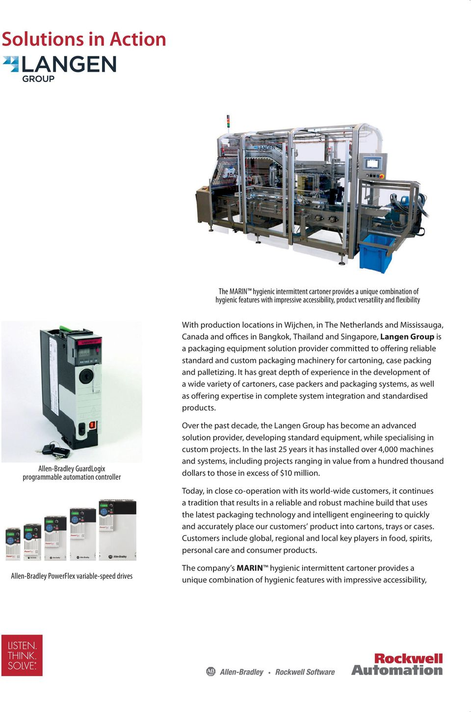 standard and custom packaging machinery for cartoning, case packing and palletizing.