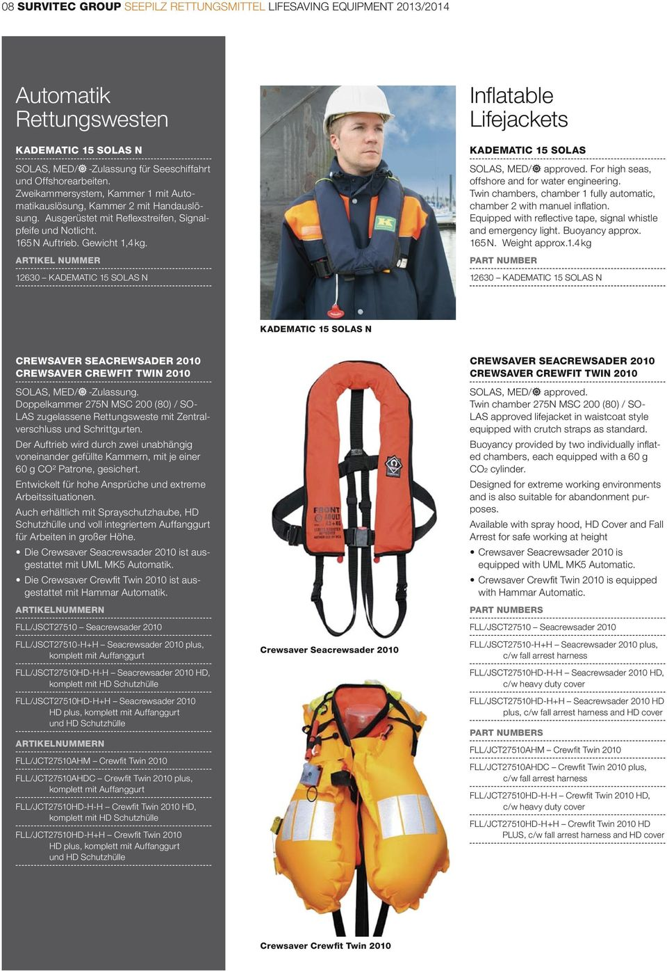 ARTIKEL NUMMER 12630 KADEMATIC 15 SOLAS N Infl atable Lifejackets KADEMATIC 15 SOLAS For high seas, offshore and for water engineering.