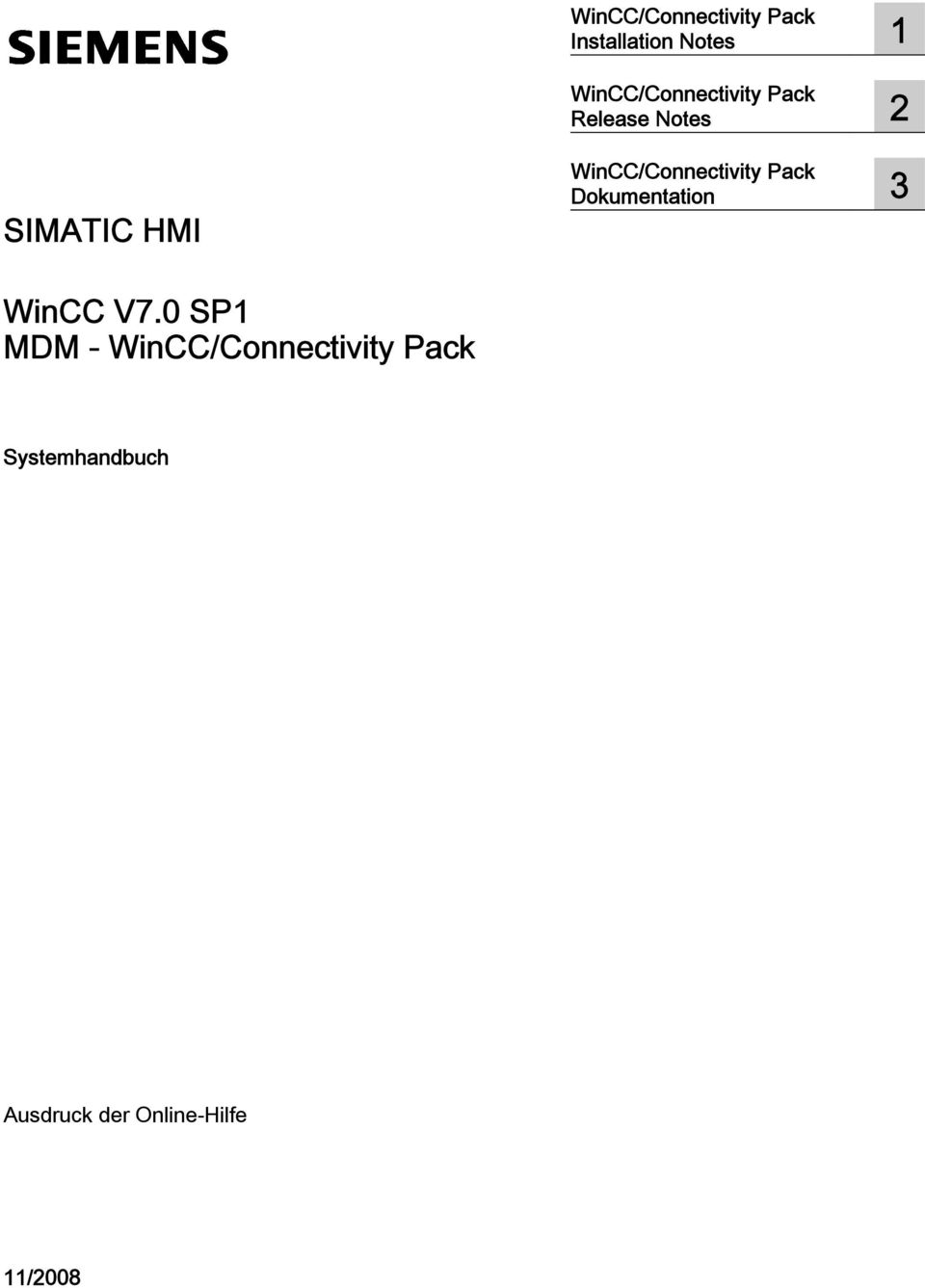 HMI WinCC/Connectivity Pack Dokumentation 3 WinCC