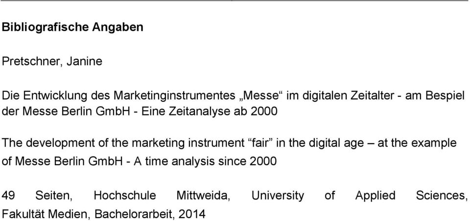 the marketing instrument fair in the digital age at the example of Messe Berlin GmbH - A time analysis