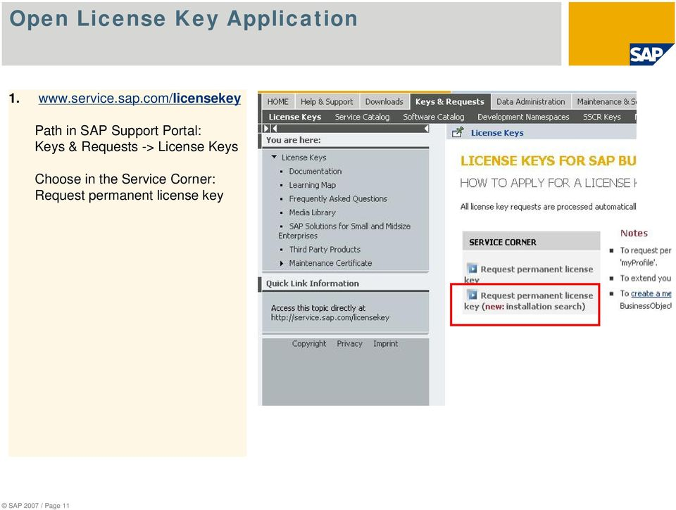 Requests -> License Keys Choose in the Service