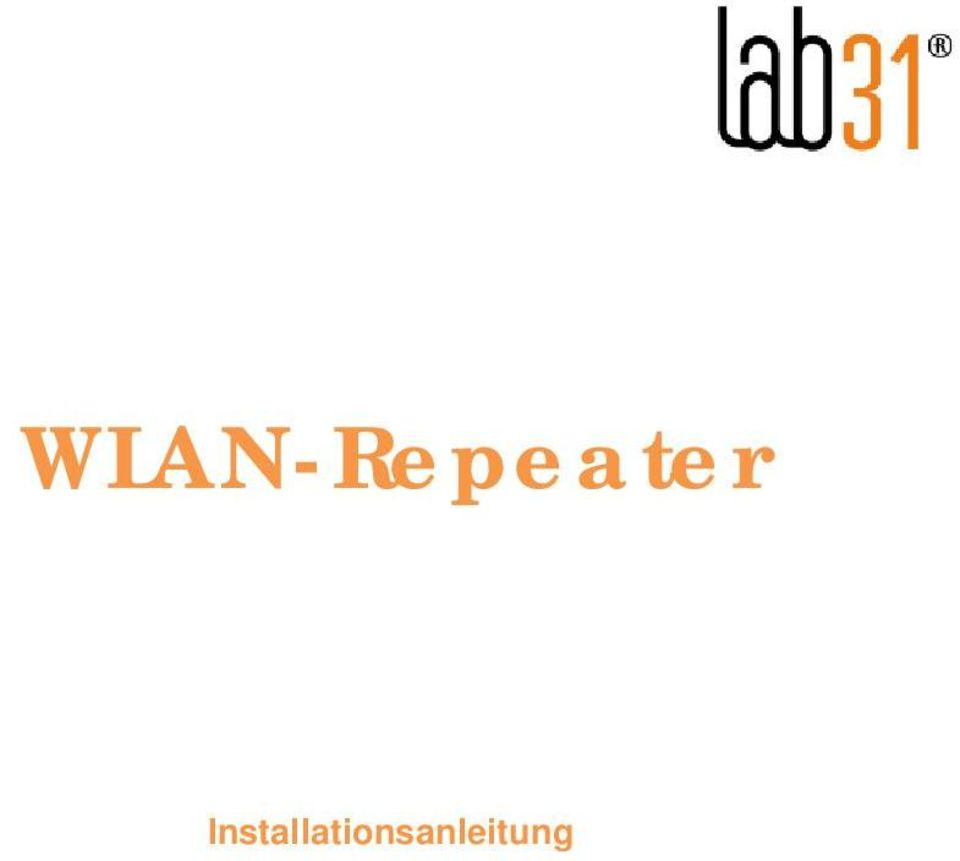 WLAN-Repeater. Installationsanleitung - PDF