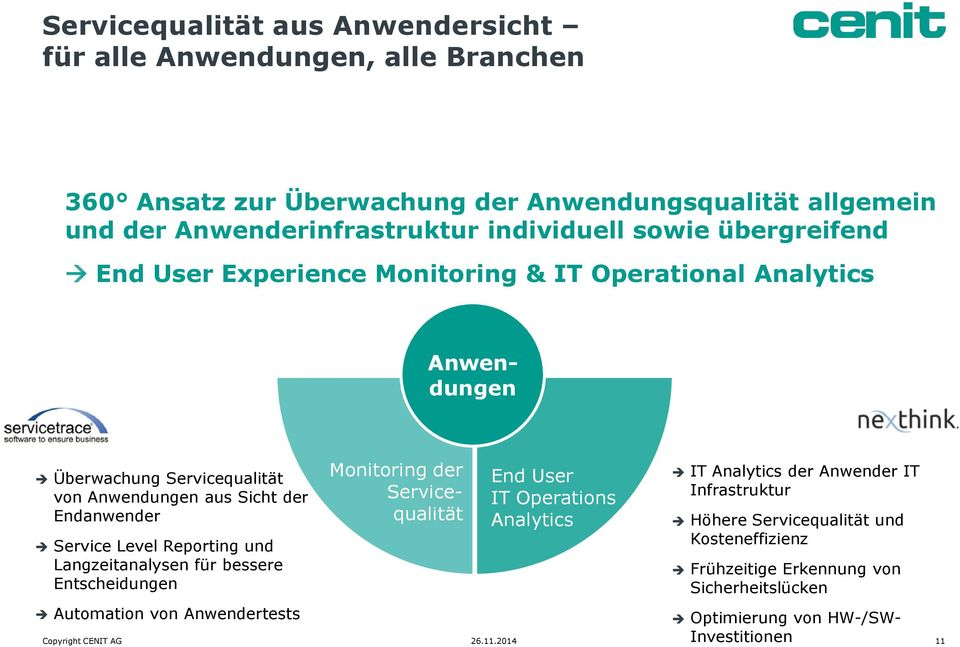 Reporting und Langzeitanalysen für bessere Entscheidungen Monitoring der Servicequalität End User IT Operations Analytics IT Analytics der Anwender IT Infrastruktur Höhere