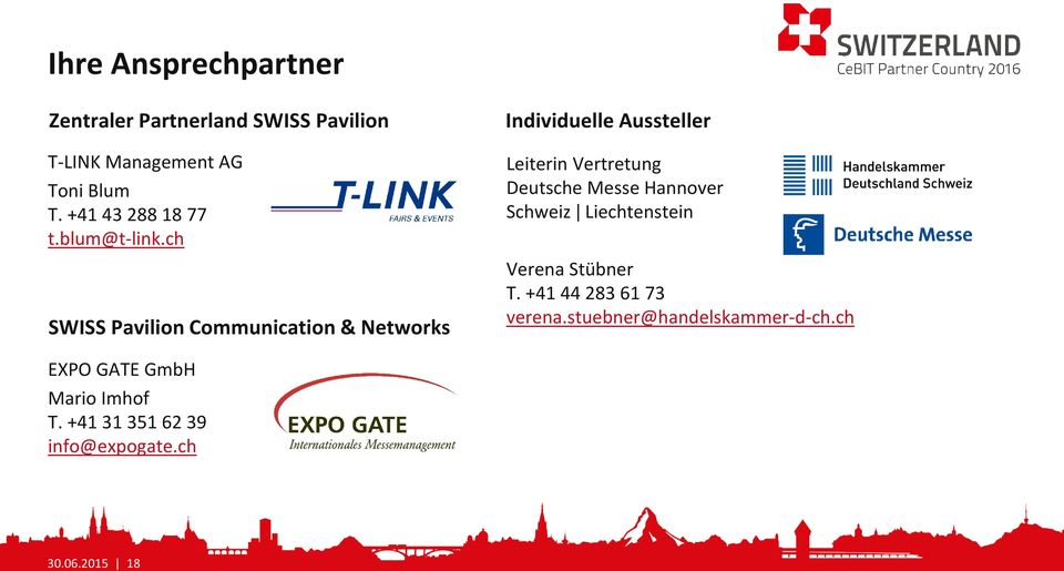 ch SWISS Pavilion Communication & Networks Individuelle Aussteller Leiterin Vertretung Deutsche Messe