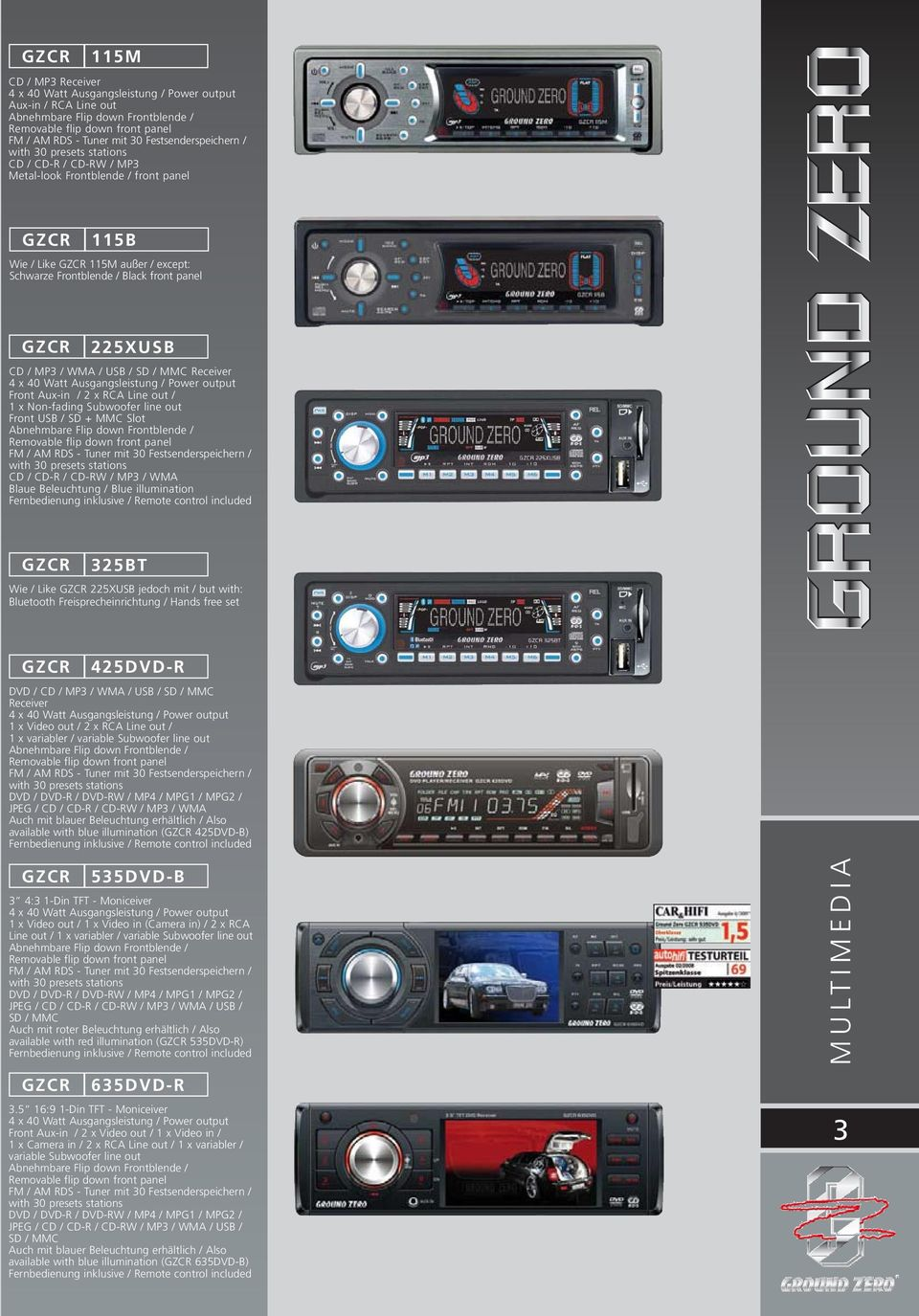 GZCR 225XUSB CD / MP3 / WMA / USB / SD / MMC Receiver 4 x 40 Watt Ausgangsleistung / Power output Front Aux-in / 2 x RCA Line out / 1 x Non-fading Subwoofer line out Front USB / SD + MMC Slot