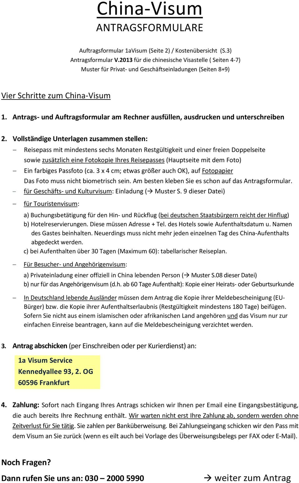 China-Visum ANTRAGSFORMULARE - PDF