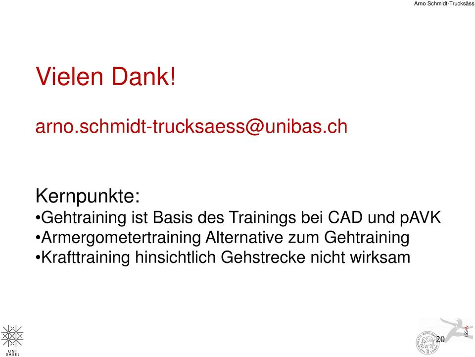 ch Kernpunkte: Gehtraining ist Basis des Trainings bei CAD