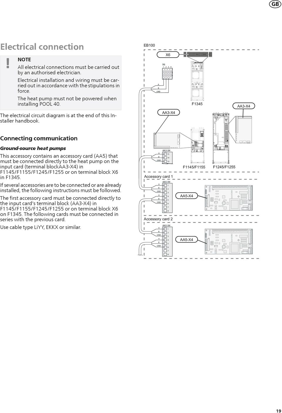 X The electrical circuit diagram is at the end of this Installer handbook.