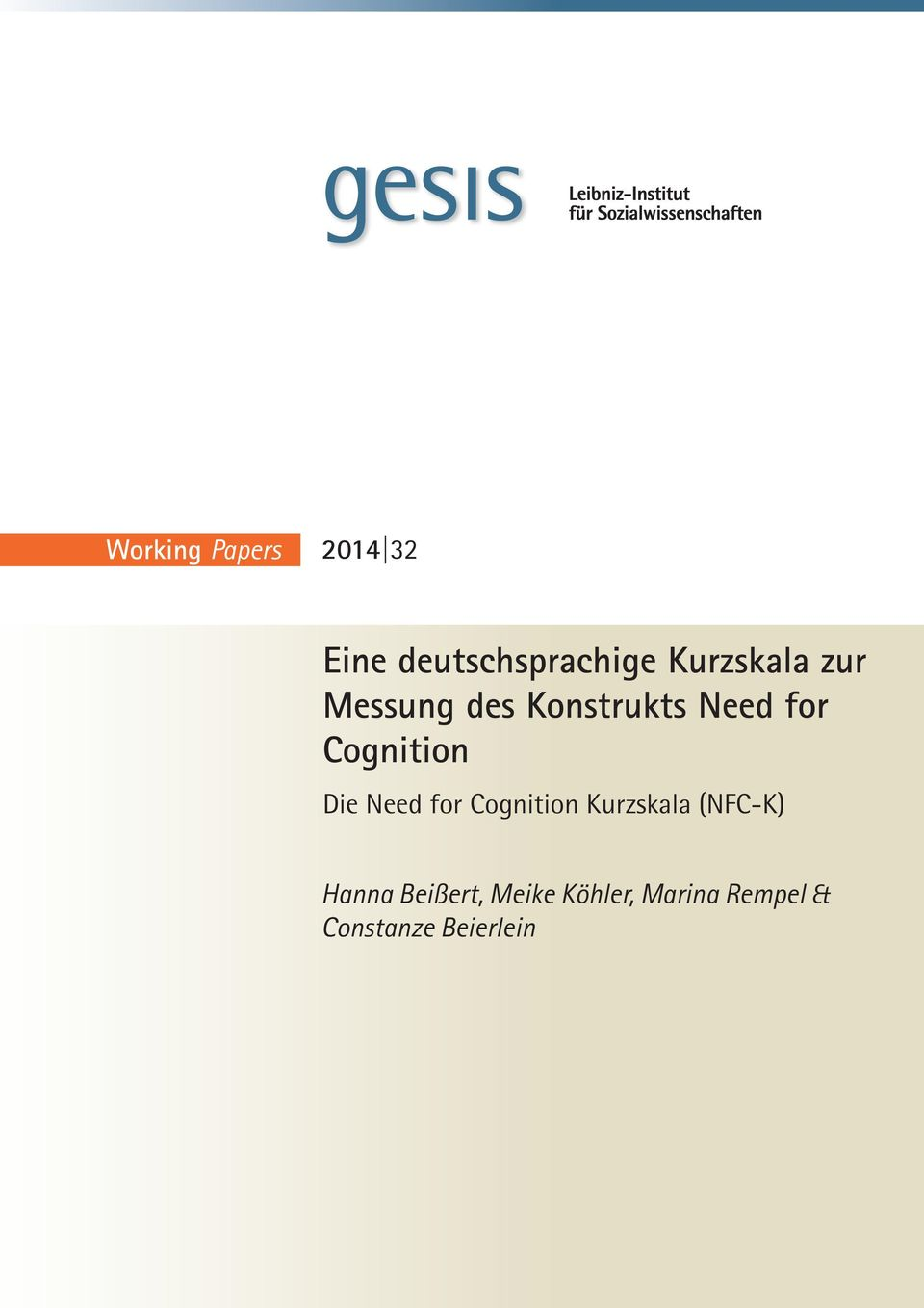 Cognition Die Need for Cognition Kurzskala (NFC-K)