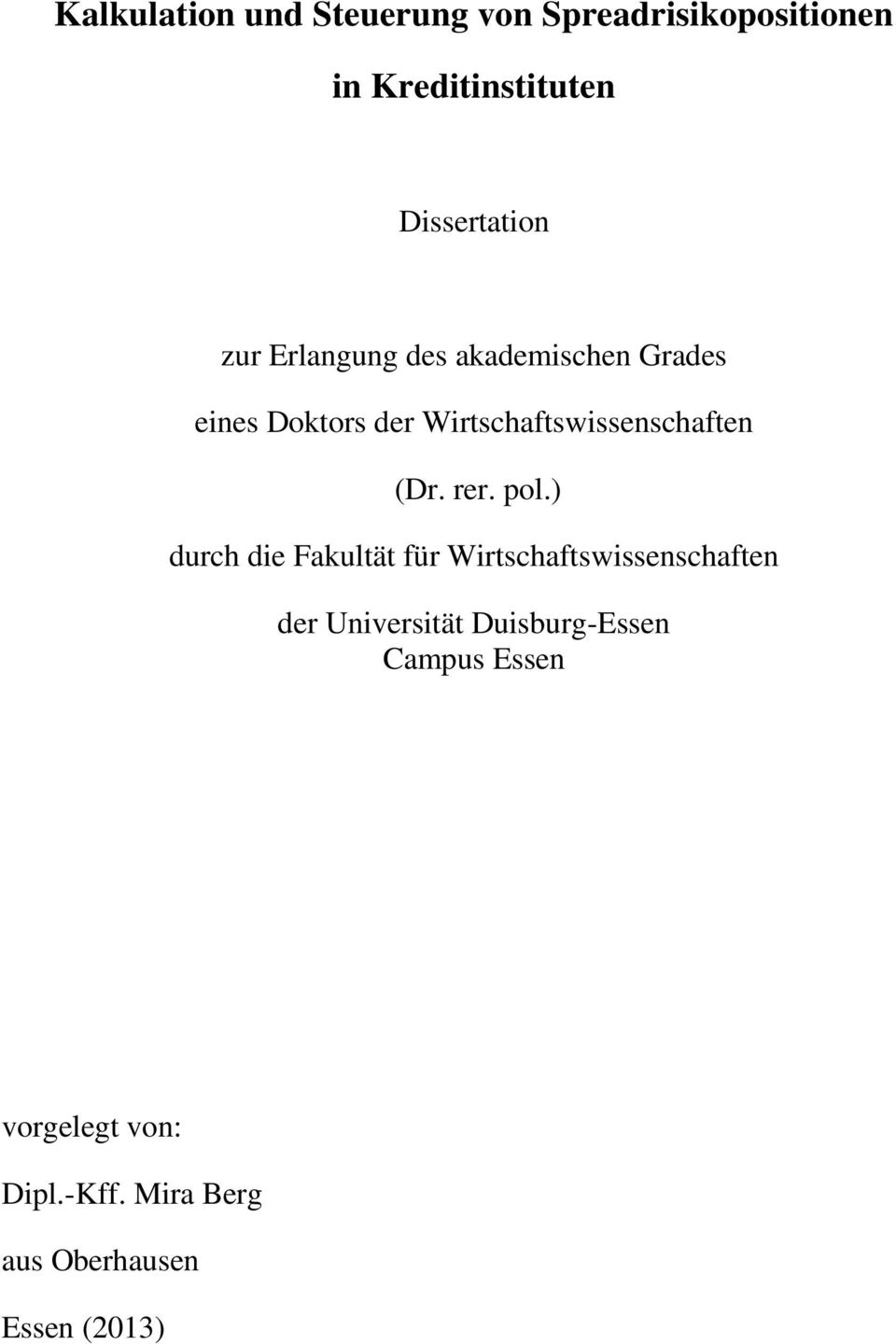 rainer vallentin dissertation