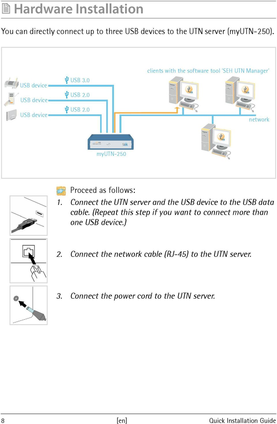 0 USB 2.0 clients with the software tool 'SEH UTN Manager' network myutn-250 Proceed as follows: 1.
