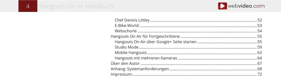 Hangouts On Air über Google+ Seite starten... 55! Studio Mode... 59! Mobile Hangouts.