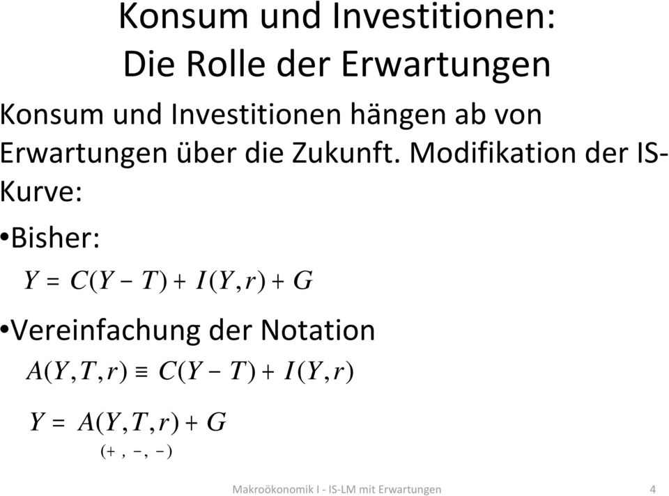 Modifikation der IS- Kurve: Bisher: Y = C( Y T) + I( Y, r) + G