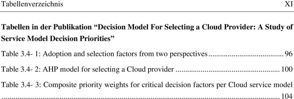 4-1: Adoption and selection factors from two perspectives... 96 Table 3.