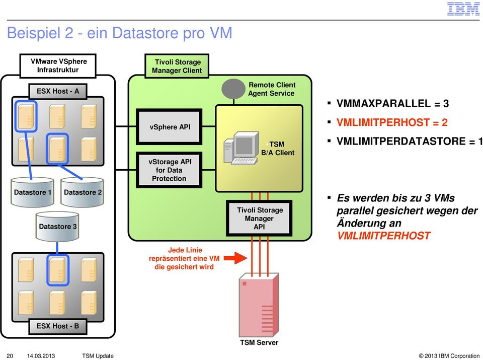 Remote Client Agent Service TSM B/A Client Tivoli Storage Manager API VMMAXPARALLEL = 3 VMLIMITPERHOST = 2