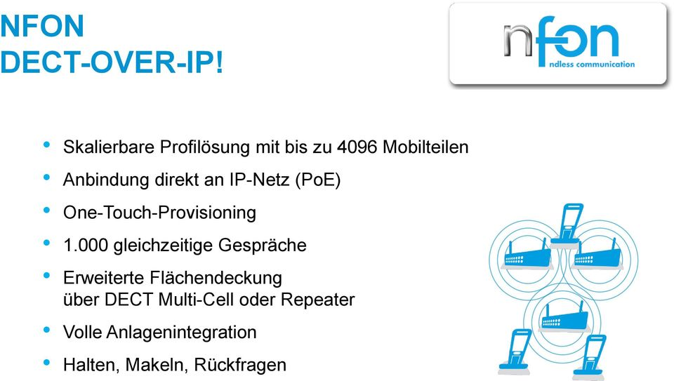 direkt an IP-Netz (PoE) One-Touch-Provisioning 1.