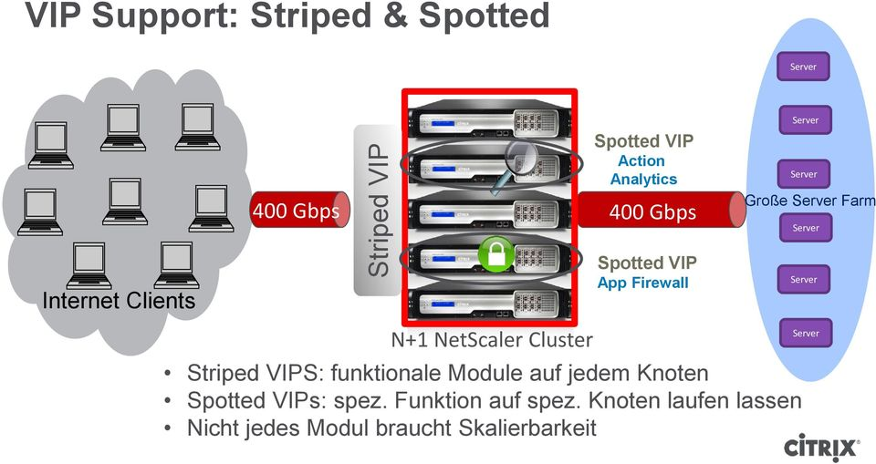 Spotted VIP App Firewall Striped VIPS: funktionale Module auf jedem Knoten Spotted VIPs: