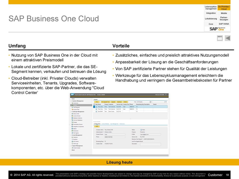 Privater Clouds) verwalten Serviceeinheiten, Tenants, Upgrades, Softwarekomponenten, etc.