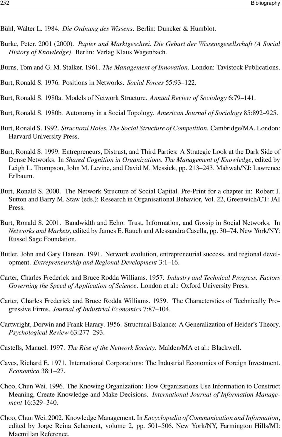 Burt, Ronald S. 1976. Positions in Networks. Social Forces 55:93 122. Burt, Ronald S. 1980a. Models of Network Structure. Annual Review of Sociology 6:79 141. Burt, Ronald S. 1980b.