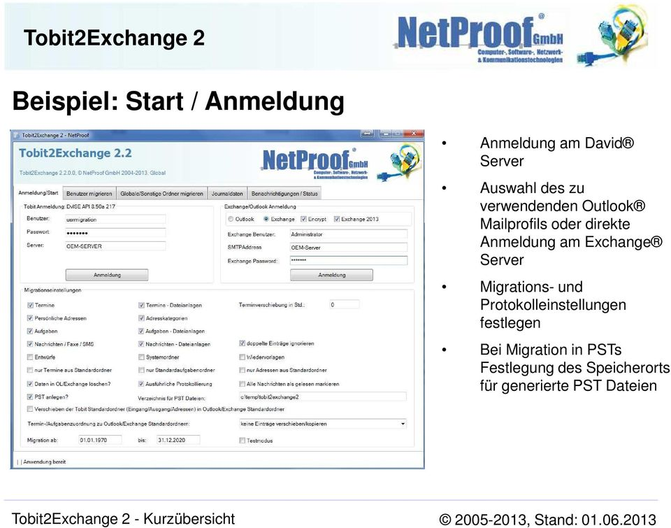 Exchange Server Migrations- und Protokolleinstellungen festlegen