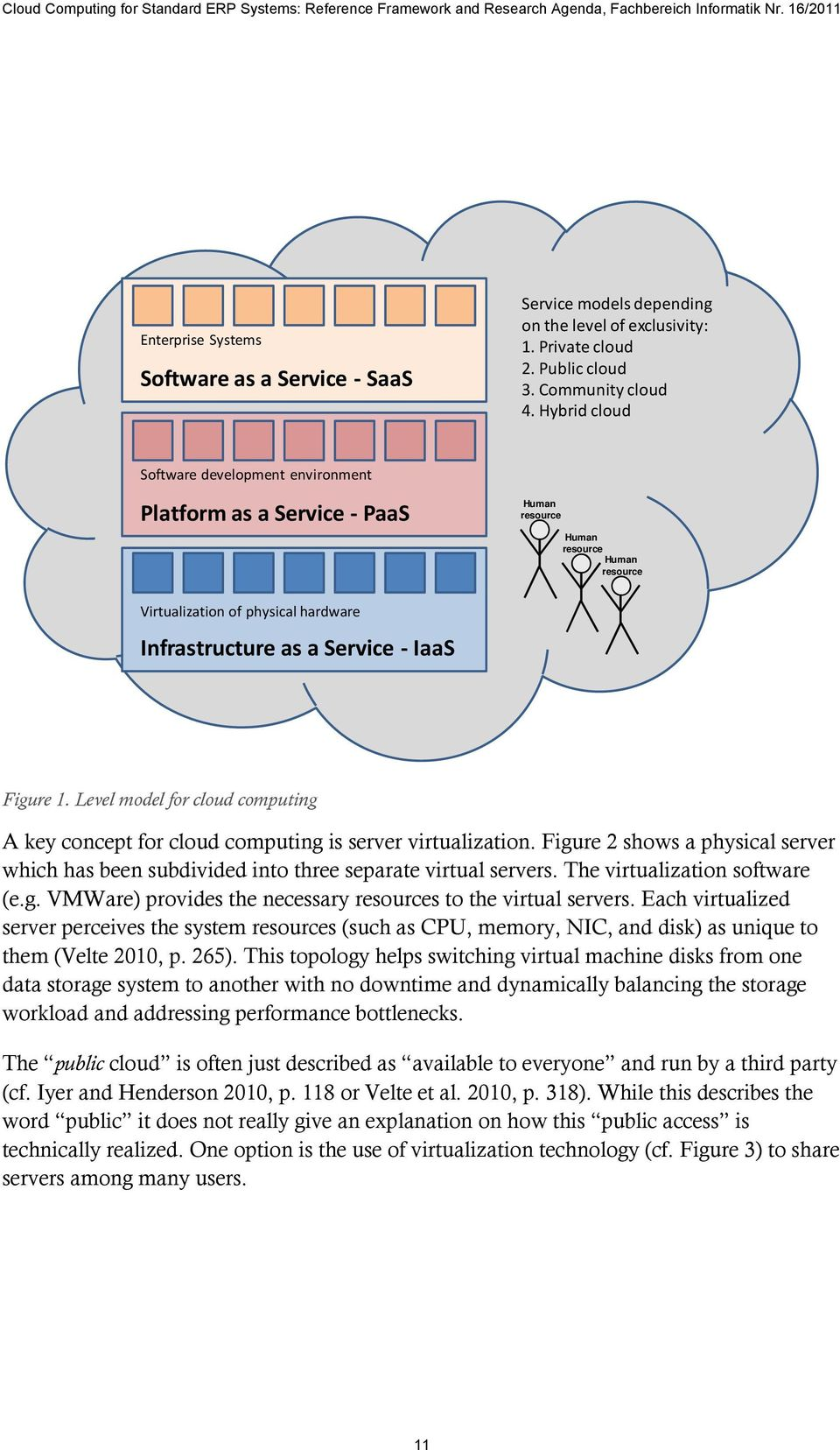 Level model for cloud computing A key concept for cloud computing is server virtualization. Figure 2 shows a physical server which has been subdivided into three separate virtual servers.