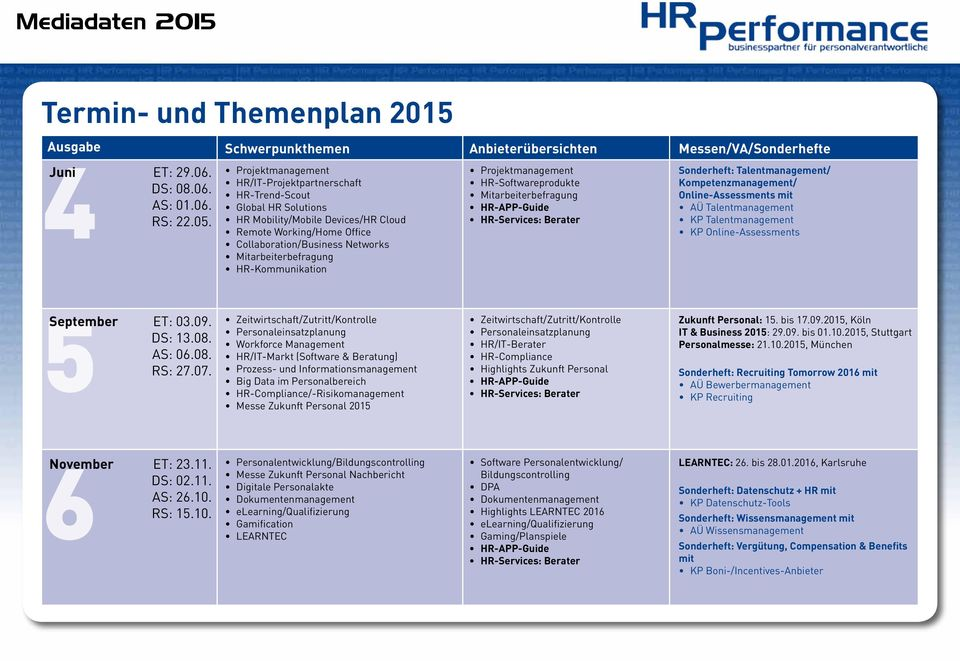 HR-Kommunikation Projektmanagement HR-Softwareprodukte Mitarbeiterbefragung HR-APP-Guide HR-Services: Berater Sonderheft: Talentmanagement/ Kompetenzmanagement/ Online-Assessments mit AÜ