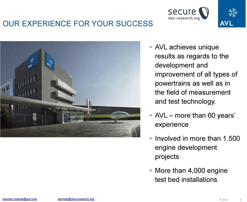 technology. AVL more than 60 years experience Involved in more than 1.