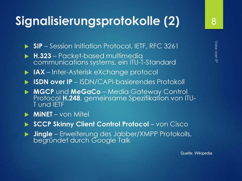 ISDN/CAPI-basierendes Protokoll MGCP und MeGaCo Media Gateway Control Protocol H.
