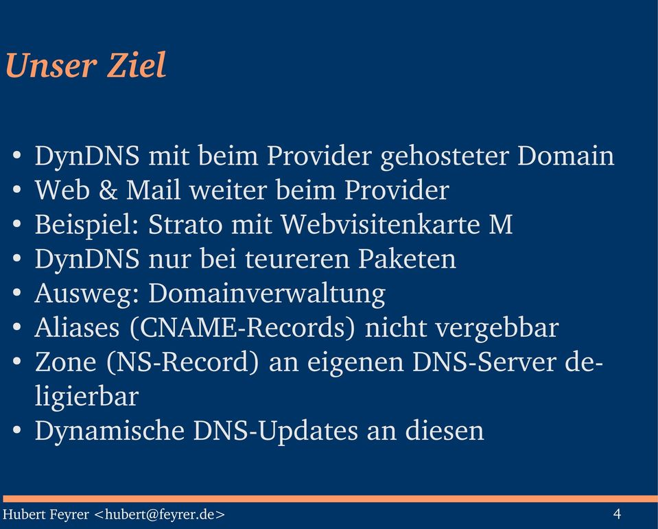 Ausweg: Domainverwaltung Aliases (CNAME Records) nicht vergebbar Zone (NS Record) an