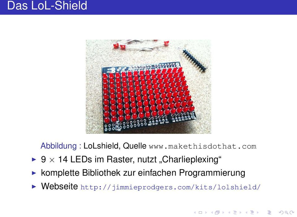 com 9 14 LEDs im Raster, nutzt Charlieplexing