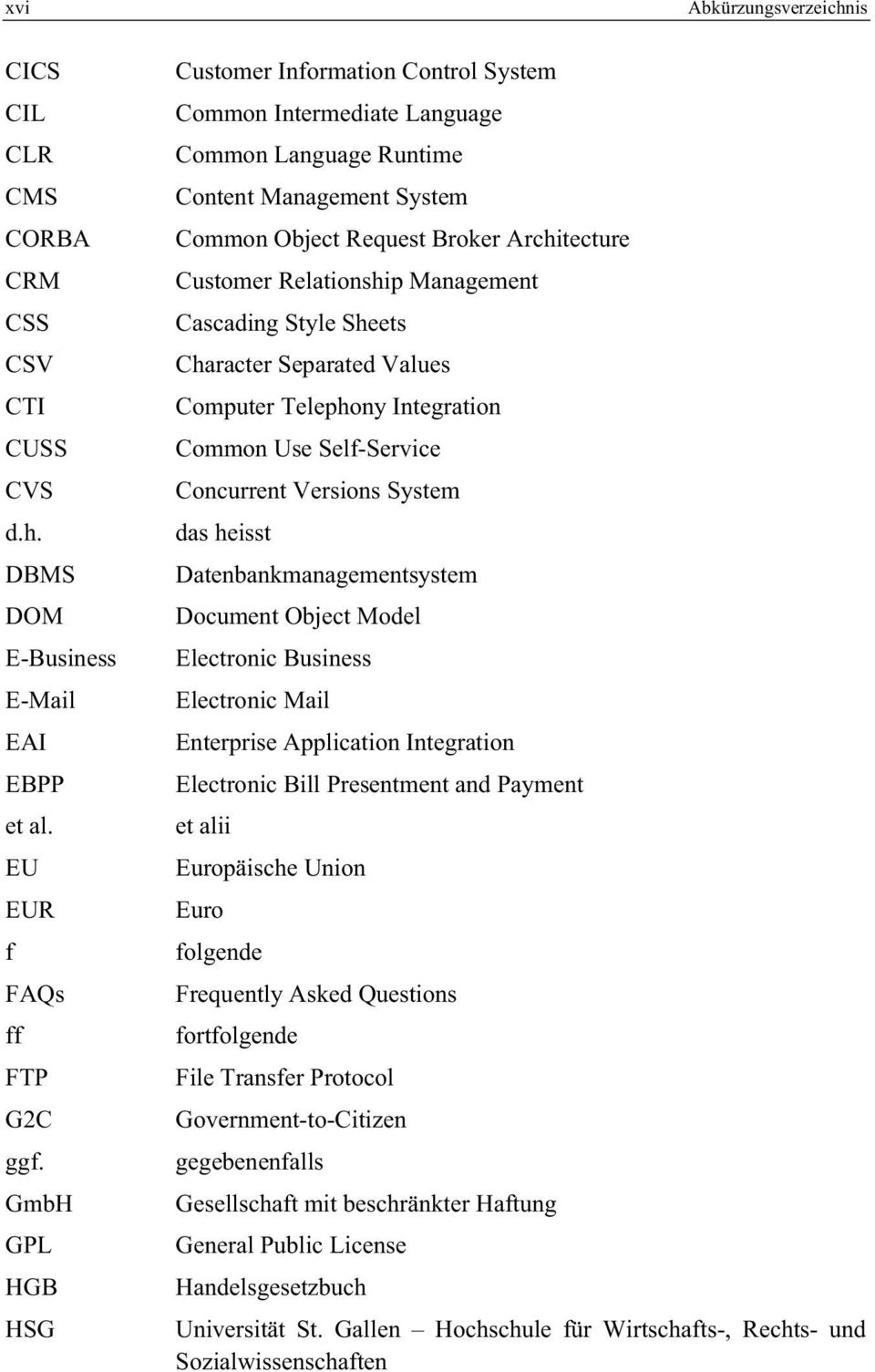 Customer Relationship Management Cascading Style Sheets Character Separated Values Computer Telephony Integration Common Use Self-Service Concurrent Versions System das heisst