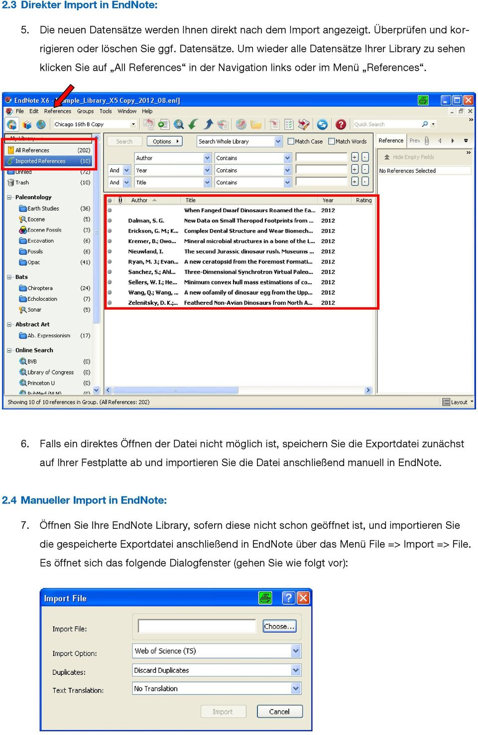 4 Manueller Import in EndNote: 7.