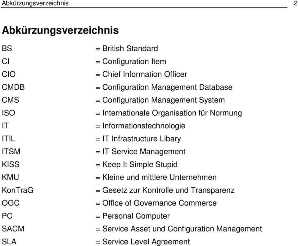 für Normung = Informationstechnologie = IT Infrastructure Libary = IT Service Management = Keep It Simple Stupid = Kleine und mittlere Unternehmen