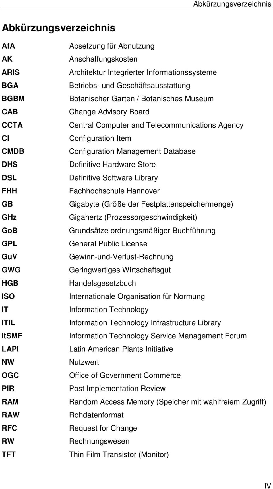 Telecommunications Agency Configuration Item Configuration Management Database Definitive Hardware Store Definitive Software Library Fachhochschule Hannover Gigabyte (Größe der