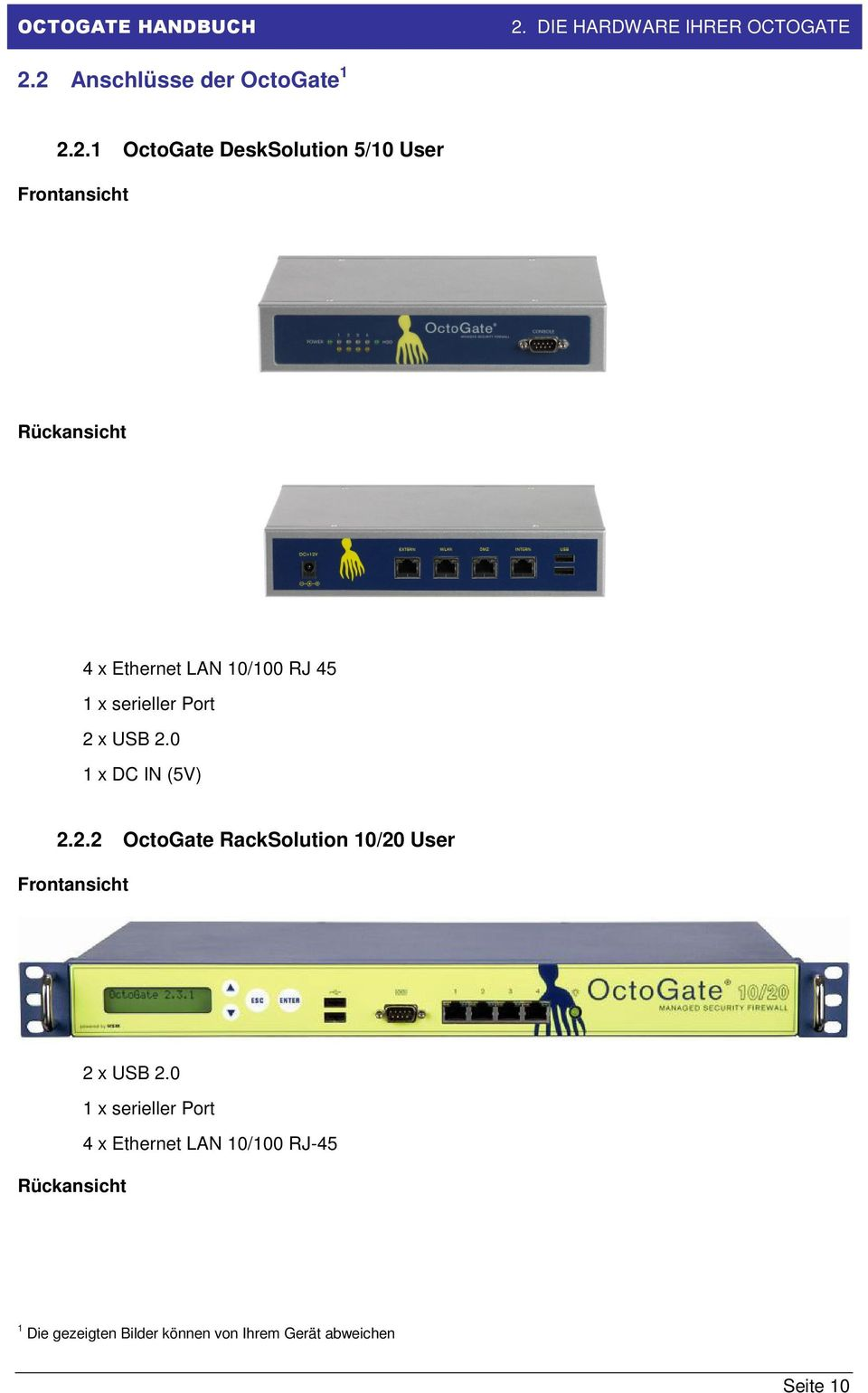 0 1 x DC IN (5V) 2.2.2 OctoGate RackSolution 10/20 User Frontansicht 2 x USB 2.