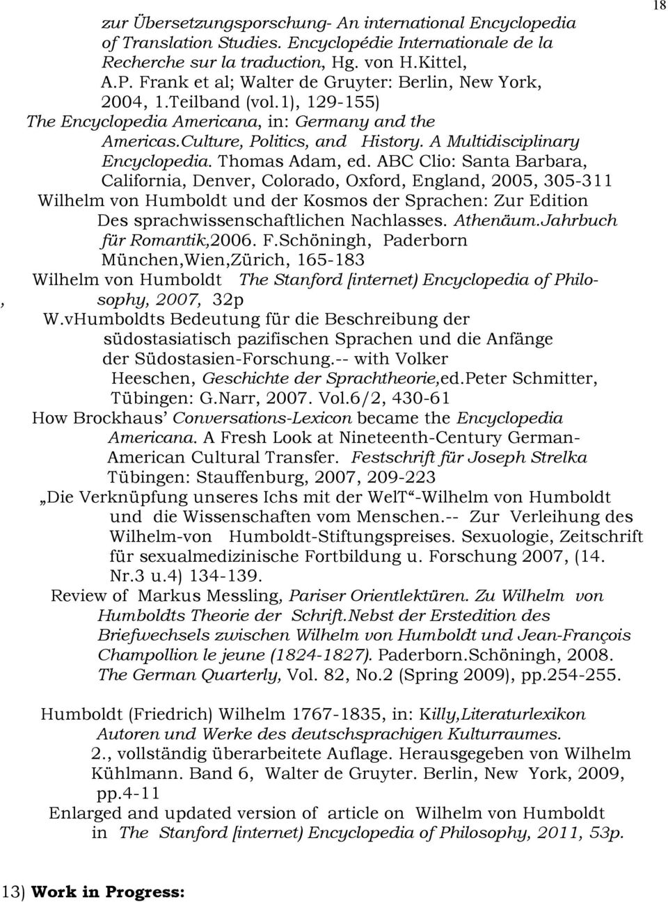 A Multidisciplinary Encyclopedia. Thomas Adam, ed.