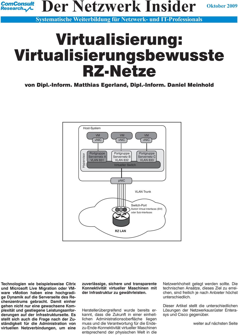 Daniel Meinhold Host-System v v v Portgruppe Servernetz A VLAN 831 Portgruppe Servernetz B VLAN 832 Virtueller Switch Portgruppe Servernetz C VLAN 833 p VLAN Trunk Switch-Port Switch Virtual