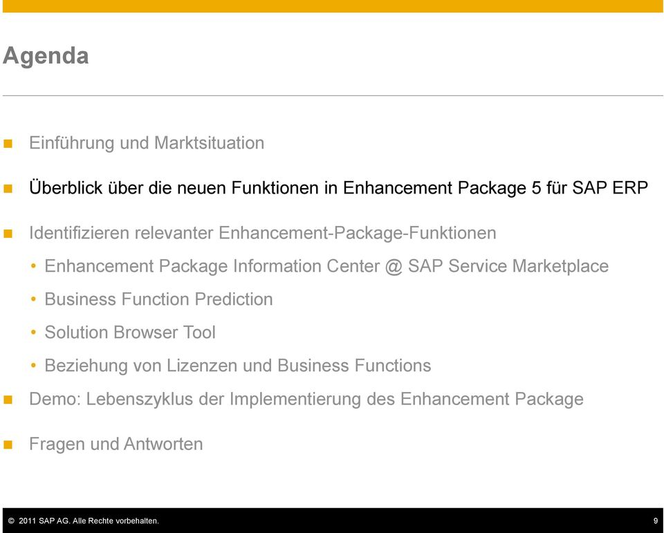 Marketplace Business Function Prediction Solution Browser Tool Beziehung von Lizenzen und Business Functions