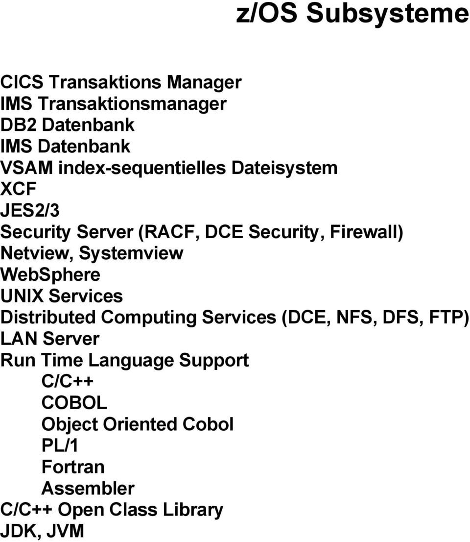 Systemview WebSphere UNIX Services Distributed Computing Services (DCE, NFS, DFS, FTP) LAN Server Run