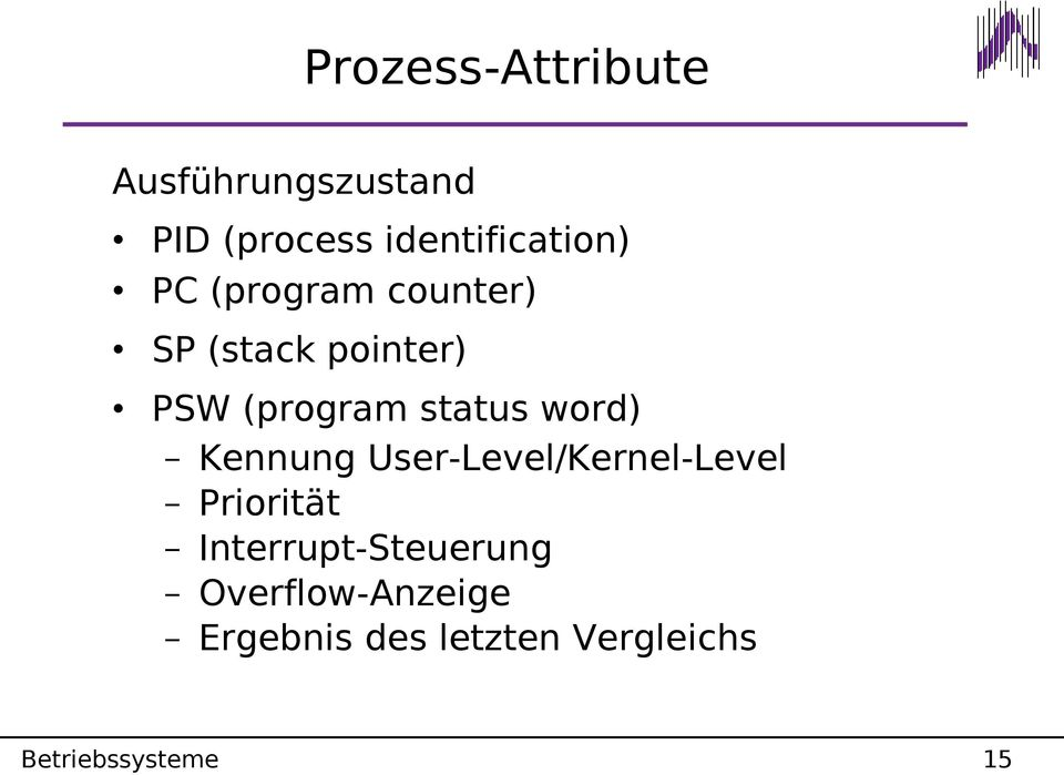 Kennung User-Level/Kernel-Level Priorität Interrupt-Steuerung