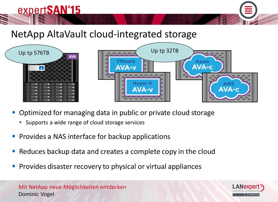 storage services Provides a NAS interface for backup applications Reduces backup data