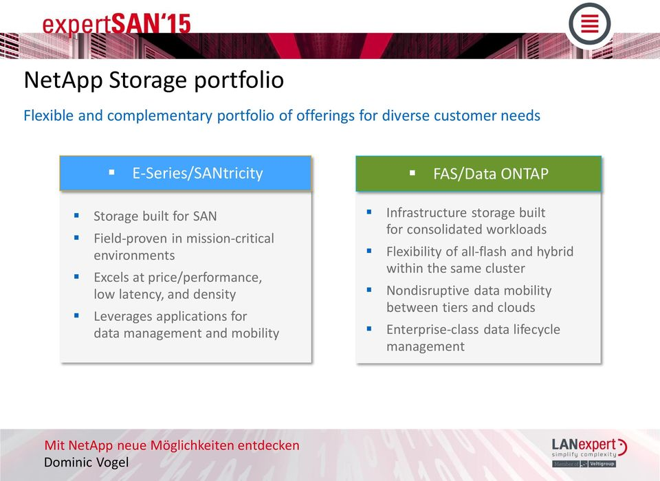 applications for data management and mobility FAS/Data ONTAP Infrastructure storage built for consolidated workloads Flexibility of