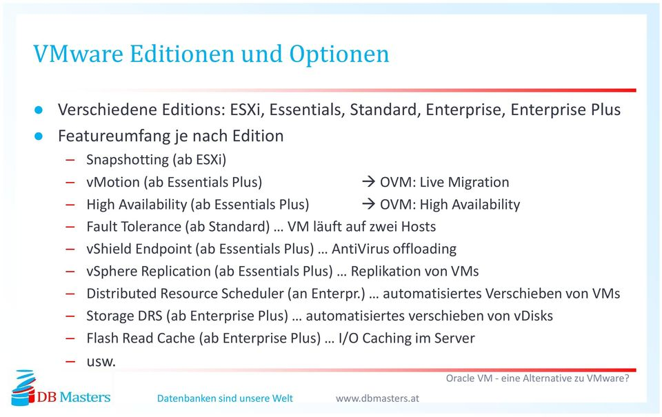 vshield Endpoint(ab Essentials Plus) AntiVirus offloading vsphere Replication (ab Essentials Plus) Replikation von VMs Distributed Resource Scheduler (an Enterpr.