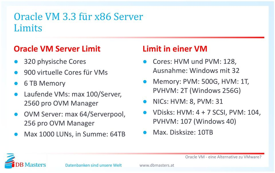 VMs: max100/server, 2560 pro OVM Manager OVM Server: max64/serverpool, 256 pro OVM Manager Max 1000 LUNs, in Summe: