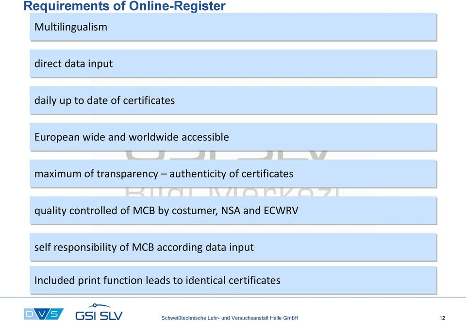 controlled of MCB by costumer, NSA and ECWRV self responsibility of MCB according data input Included