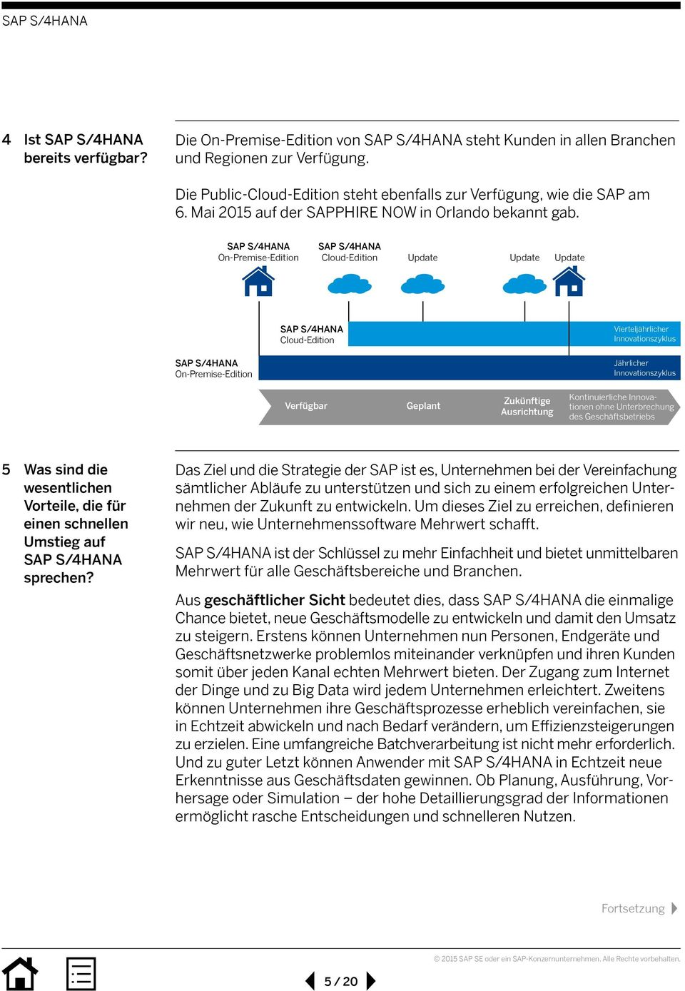 On-Premise-Edition Cloud-Edition Update Update Update Cloud-Edition Vierteljährlicher Innovationszyklus On-Premise-Edition Jährlicher Innovationszyklus Verfügbar Geplant Zukünftige Ausrichtung